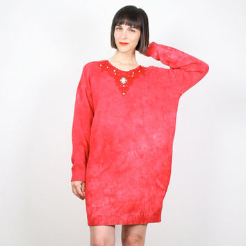 Vintage 80s Sweater Dress Mini Dress Oversized Sweater Cosby Sweater Tie Dye Red Lace Trim Jumper Pullover New Wave Knit M L XL Extra Large