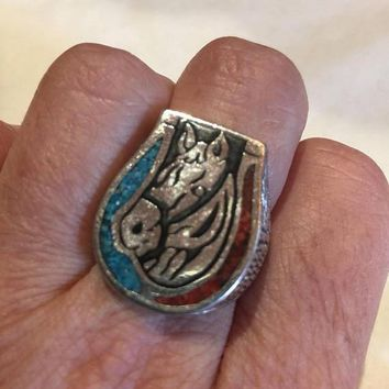 Vintage 1980's Native American Style Southwestern Real Turquoise Stone inlay Horse Sho