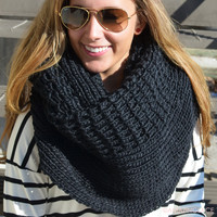 Cozy Up Black Chunky Oversized Scarf