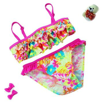 Layer Frill Flower Pattern Girls Bathing Suits