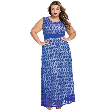 Blue Flowery Lace Overlay Belted Curvy Maxi Dress