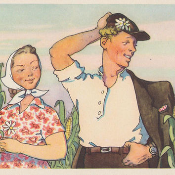 Postcard Illustration by B. Talberg -- 1956