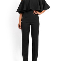 Off-The-Shoulder Ruffles Lycra Spandex Jumpsuit