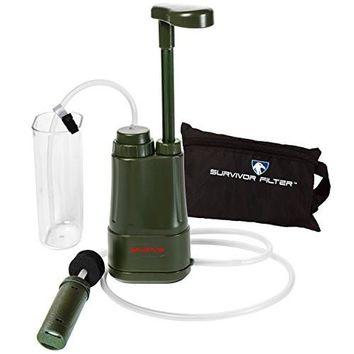 Survivor Filter PRO 0.01 Micron Water Purifier Pump. Emergency and Camping Survival Gear. 3-Stage Nanofiltration Water Filter - 2 Separate 100,000L Membrane UF Filters that Can Be Cleaned and a Replaceable Carbon Filter. Also Comes With an Attachable Wate