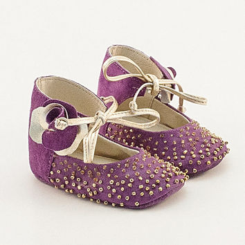Purple and golden leather baby shoes with pearls