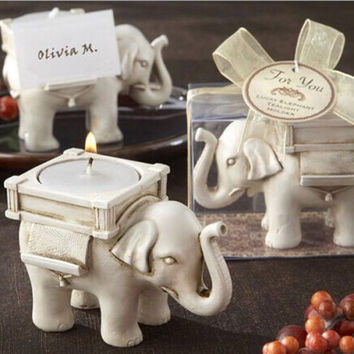 Cute Lucky Resin Ivory Elephant Tea Light Candle Holder Wedding Home Party Decor = 1946203844