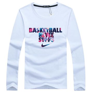 Basketball Never Stops Galaxy Nike Long Sleeve T Shirt Top