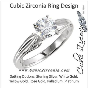 Cubic Zirconia Engagement Ring- The Sandra (Sculptural-Inspired 1 Carat Round Solitaire)