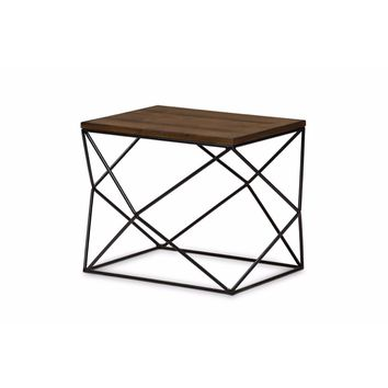 Antique Black Textured Finished Metal Distressed Wood Occasional End Table -Baxton Studio