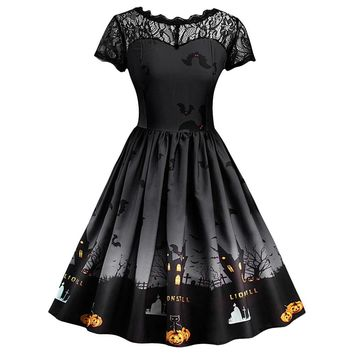 2018 Newest women dress Short Sleeve Halloween Retro Lace Vintage Dress A Line Pumpkin Swing Dress roupas Femininas dropshipping
