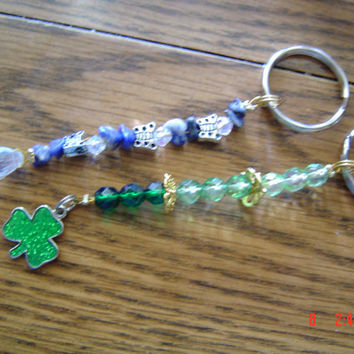 Shamrock crystal keychains green blue teen woman gift OOAKHandmade  Accessoryteen