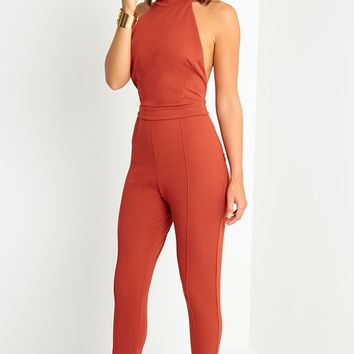 fe12b02654 Nicki Rust Backless Jumpsuit - Jumpsuits   Playsuits - PrettylittleThing
