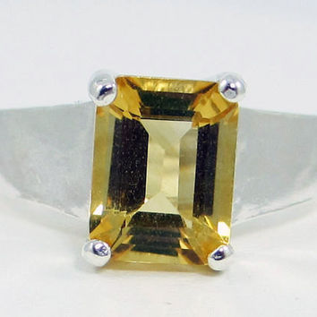 Emerald Cut Citrine Ring Sterling Silver, November Birthstone Ring, Yellow Citrine Ring, Emerald Cut Ring, 925 Citrine Ring