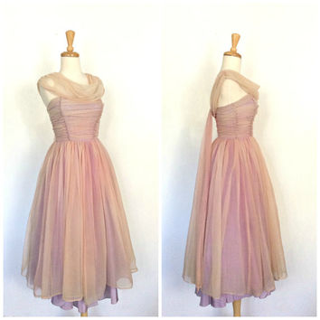 Vintage 50s Party Dress - 1950s chiffon dress - strapless - short wedding dress - ombre -  prom - cocktail dress - pin up - XS