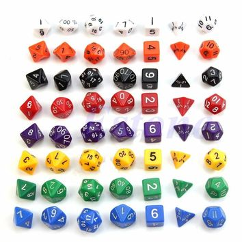 Free Shipping 7pcs Sided Die D4 D6 D8 D10 D12 D20  for DUNGEONS&DRAGONS D&D RPG Poly Dice Game