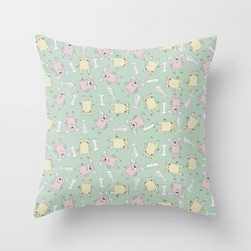 Raining Cats and Dogs Throw Pillow by lalainelim