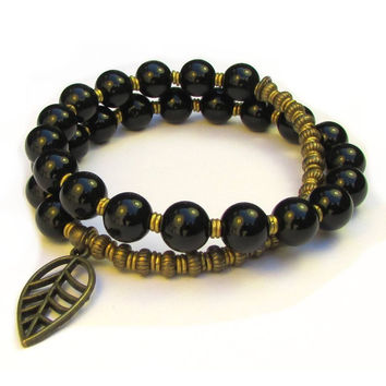 soothing, Genuine Onyx gemstone 27 bead wrap mala bracelet™