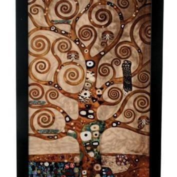 Tree of Life Stained Glass with Base by Klimt 12.1H