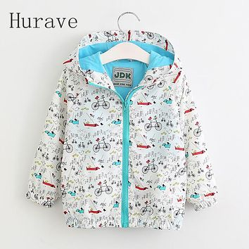 Girl spring jacket boy clothing kids wear print toddler clothes fashion Hooded autumn outwear