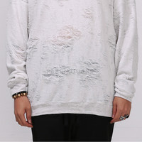 Drop Shoulder Destroyed Towelling Oversize Sweatshirt