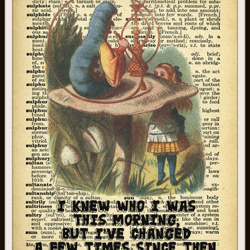 Alice in Wonderland Caterpillar Vintage Art Print on Ephemera Dictionary Book Page Background, 8 x 10""