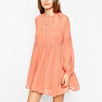 Coral Ruched Lantern Sleeves Loose Chiffon Swing Dress