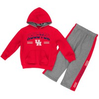 Houston Cougars Colosseum Newborn & Infant Punter Fleece Hoodie and Pants Set - Red/Heathered Gray