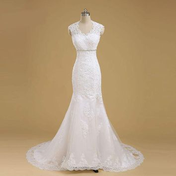 Lace Mermaid Wedding Dresses Real Pictures Long train Bridal Gown Custom