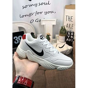 Nike Zoom new tide brand autumn and winter plus velvet warm men's sports shoes basketball shoes white