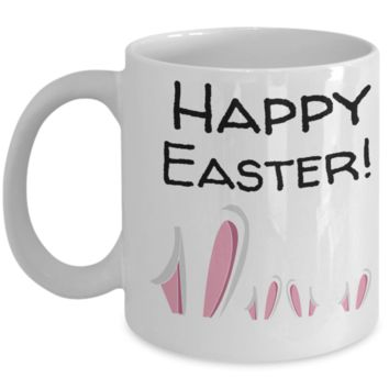 Happy Easter Bunny Ears Mug White Coffee Cup For Easter 2017 2018 Gifts For Him Her Family Grandparent Grandma Granddad Wive Husband Couples Funny Sayings Holiday Tea Coffee Mugs Cups