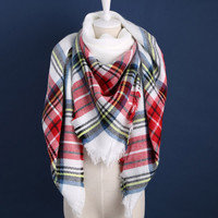 Piper Plaid Scarf in Black, Red, White