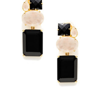 Moonstone & Black Onyx Drop Earrings by Bounkit at Gilt