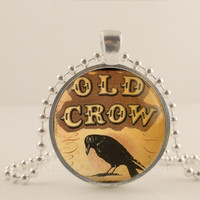 "Old Crow, black bird, Halloween, 1"" glass and metal Pendant necklace Jewelry."