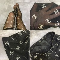 Balenciaga Stylish Women Sexy Letter Print Sock Long Net Socks
