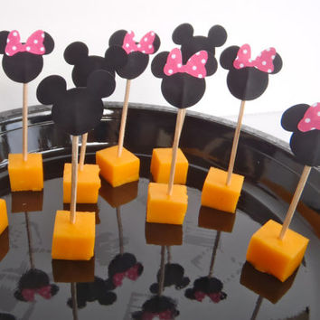 24 Food Picks for Mickey or Minnie Mouse Theme Party ~ READY To SHIP by FeistyFarmersWife
