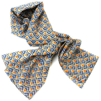 Blue & Orange Geometric Print Scarf
