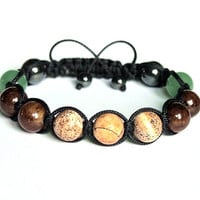 Mens Bracelet, Jasper and Jade, Natural Stone Jewelry, Handmade Adjustable Bracelet, Black Brown Green