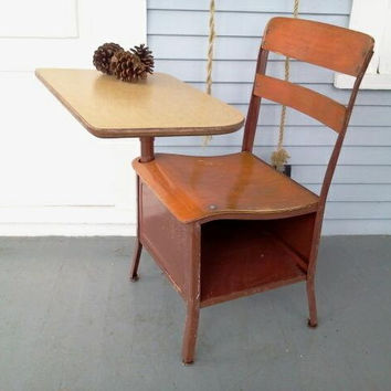 Industrial, Childrens School House Desk, Vintage, Metal & Wood Childrens Desk and Chair, Childrens Desk,