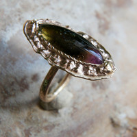 Gold tourmaline ring, antique ring, ancient style ring, watermelon tourmaline, yellow gold ring, 14K gold ring, modern, unique ring size 7