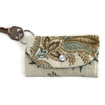 ID Holder, Keychain Wallet in Linen, Paisley & Leather