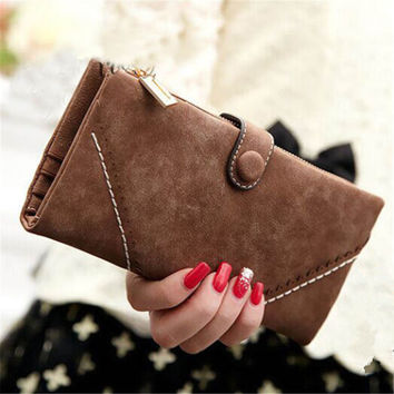 2016 Fashion Women Button Wallet Long Phone Card Holder Retro Multifunctional Purse Handbag High Quality Free Shipping N524