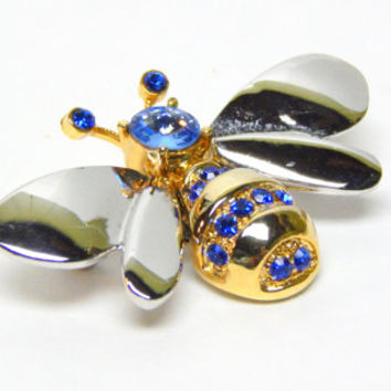 Bumble Bee Brooch Silver Bee Pin Gold Blue Body Silver Wings