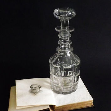 Victorian Three Ring Decanter, Antique Spirit Decanter, Mallet Carafe, Crystal Decanter, Wine, Sherry, Home Bar, Office or Man Cave Gift