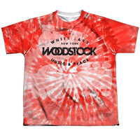 WOODSTOCK/TIE DYE-S/S YOUTH POLY CREW-WHITE