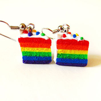 Polymer Clay Rainbow Cake Charm Earrings by MadAristocrat on Etsy