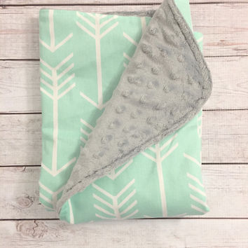 Gender Neutral Baby Blanket,  Mint Arrow Baby Blanket with Gray Minky by BizyBelle