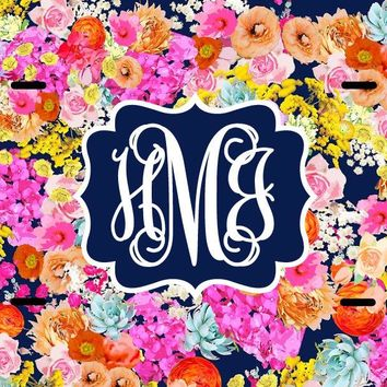 Navy Floral Garden Monogram License Plate Frame - Monogram Car Tag Front License Plate Personalized Plate
