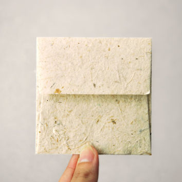 Mini Square Mulberry Paper Envelopes - Natural colour (Set of 20)
