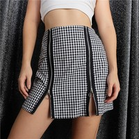 Winter Sexy Split Ring Zippers Patchwork Skirt [206233272346]