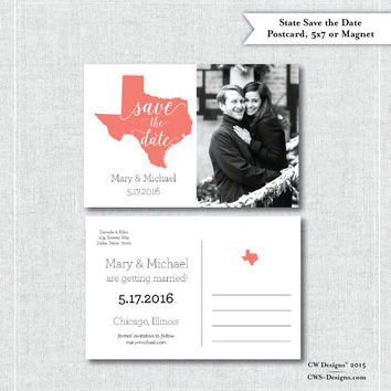 "State Photo Postcard 4""x6"", 5x7 Card or Magnet Save the Dates (Your State or Country)"